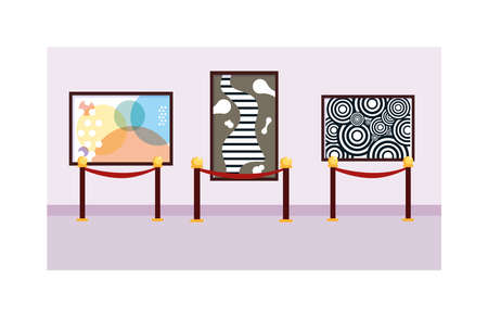 paintings exhibition , art gallery on white background illustration design Ilustración de vector