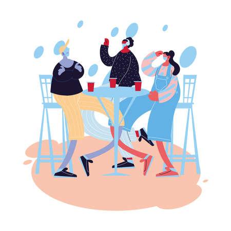 friends with masks celebrating birthday vector illustration design