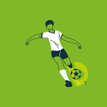 soccer player running with soccer ball vector illustration design