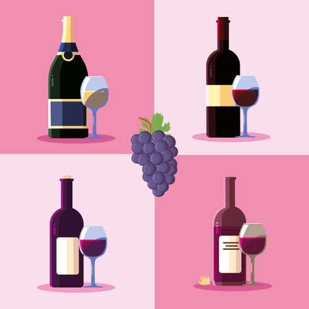 Wine grapes bottle and cup design, Winery alcohol drink beverage restaurant and celebration theme Vector illustration
