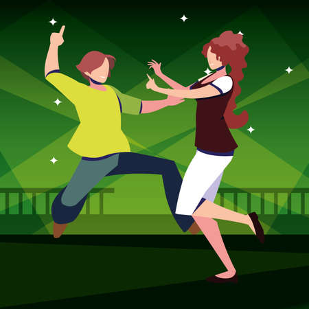 couple of people dancing in nightclub vector illustration design