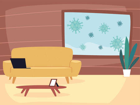 staying at home to stop outbreak and protect virus spread vector illustration design Illusztráció