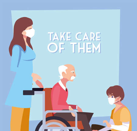 people take care of old man in wheelchair, label take care of them vector illustration design Illustration