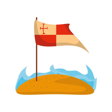 flag in beach, columbus day on white background vector illustration design