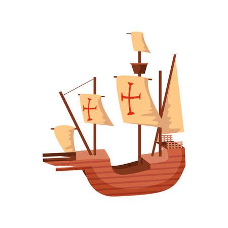 sailing ship, caravel santa maria, columbus day vector illustration design Vector Illustration