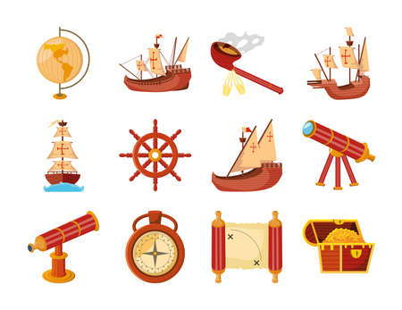 set of icons columbus day on white background vector illustration design Vektoros illusztráció