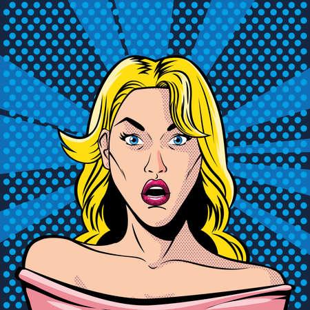 blonde woman face with open mouth, surprised, style pop art vector illustration design Illusztráció