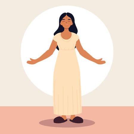 hindu woman in traditional dress vector illustration design