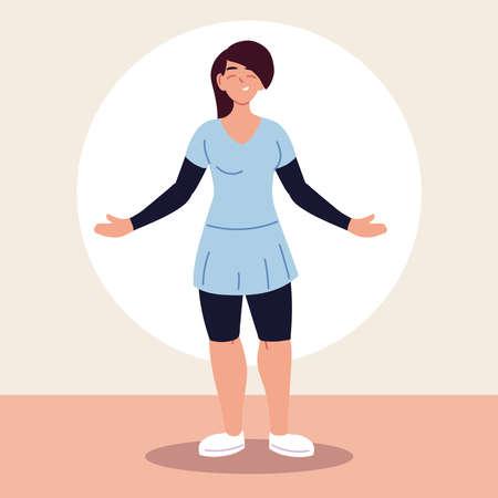 young female wearing casual clothes vector illustration design Illusztráció