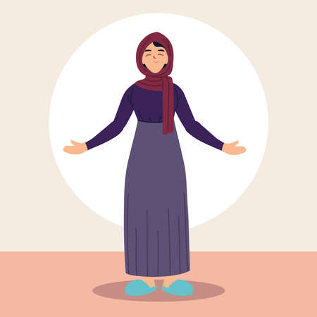 muslim woman in traditional dress vector illustration design