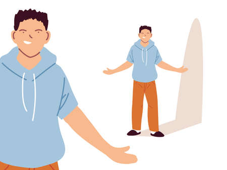 young man in different poses, diversity or multicultural vector illustration design