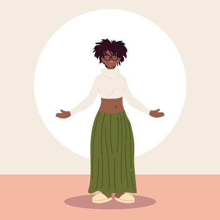 afro woman wearing casual clothes vector illustration design Illusztráció