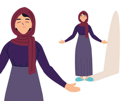 muslim woman in different poses, diversity or multicultura vector illustration design