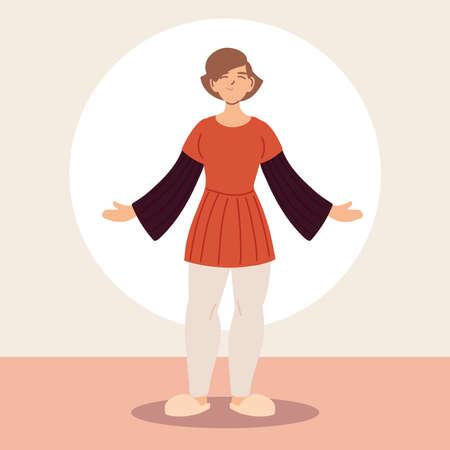 young woman wearing casual clothes vector illustration design Illusztráció