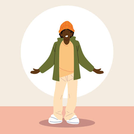 afro man wearing casual clothes vector illustration design