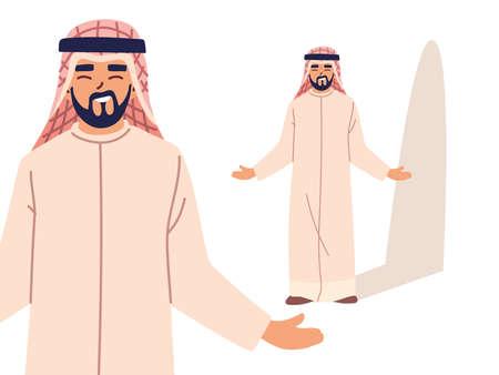 arab man in different poses, diversity or multicultural vector illustration design
