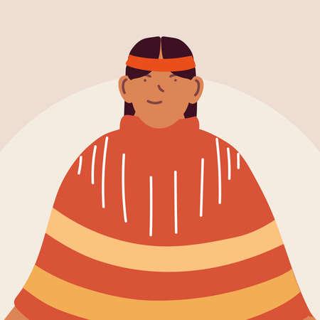 native man standing in traditional dress vector illustration design Illusztráció