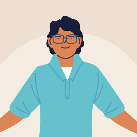 young man wearing casual clothes vector illustration design