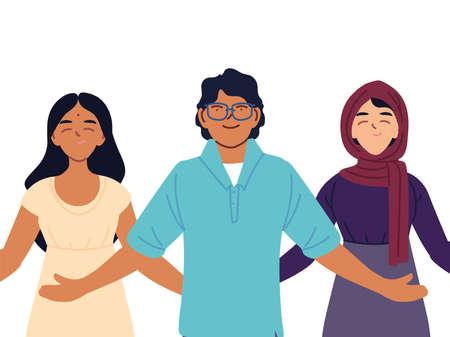 portrait of people together, diversity or multicultural vector illustration design
