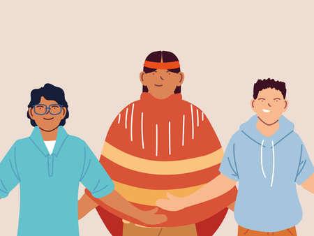 multiethnic group of people standing together, multicultural vector illustration design Illusztráció