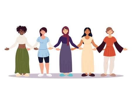 group of women together, diversity or multicultural vector illustration design