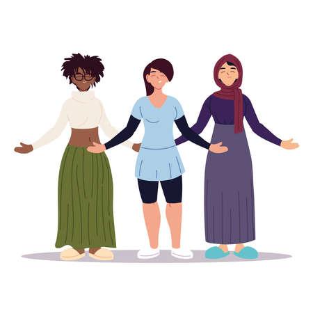 multiethnic women together, diversity or multicultural vector illustration design Illusztráció