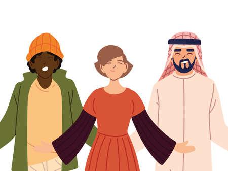 portrait of friends together, diversity or multicultu vector illustration design Illusztráció