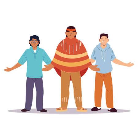 multiethnic group of people standing together, diversity or multiculturalism vector illustration design Illusztráció
