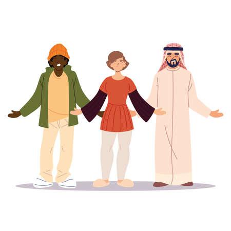 group of friends together, diversity or multicultural vector illustration design