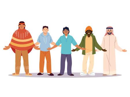 multiethnic group of people standing together, diversity or multicultural vector illustration design Illusztráció