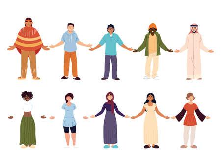 set of people together, diversity or multicultural vector illustration design Illusztráció