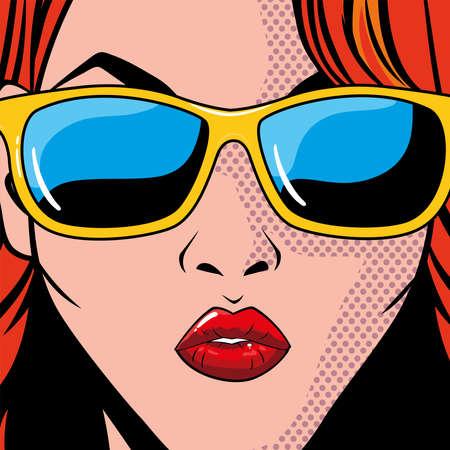 portrait of woman with sunglasses, pop art style vector illustration design