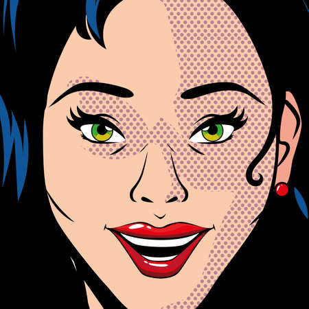 portrait of beautiful woman, pop art style vector illustration design