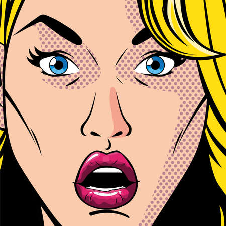 portrait of blonde woman with open mouth, surprised, style pop art vector illustration design