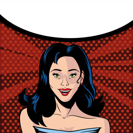 beautiful woman face surprised and speech bubble, style pop art vector illustration design