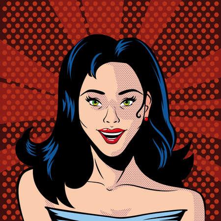 beautiful woman face, pop art style vector illustration design Illusztráció