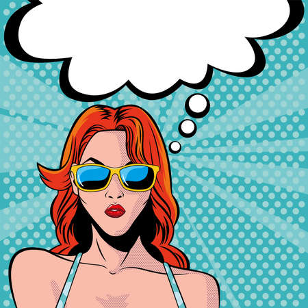 woman face with sunglasses and speech bubble, style pop art vector illustration design