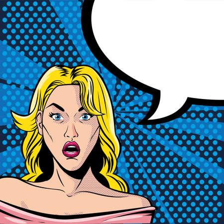 blonde woman face surprised with speech bubble, style pop art vector illustration design