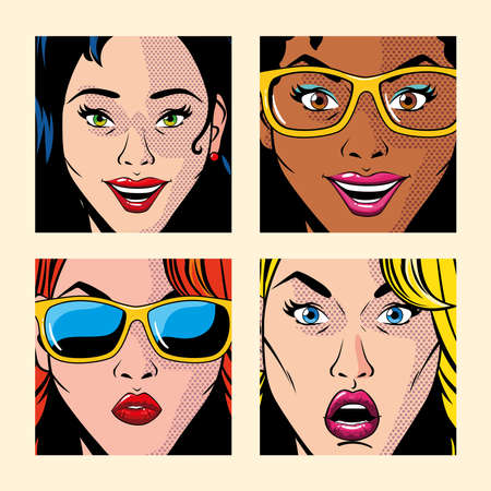 set of beautiful women portraits, pop art style vector illustration design