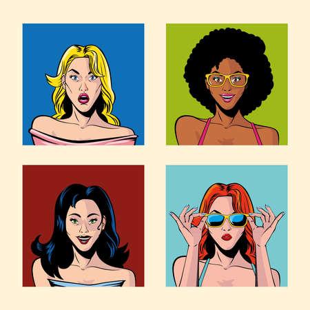 set of women portraits, pop art style vector illustration design