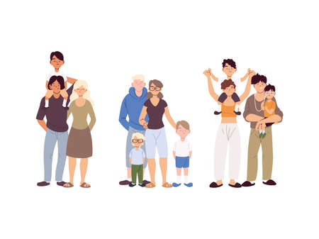 group of families, generations of families together vector illustration design