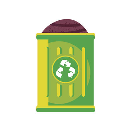 earth inside recycle trash detailed style icon design, Ecology eco save green natural organic environment protection and care theme Vector illustration
