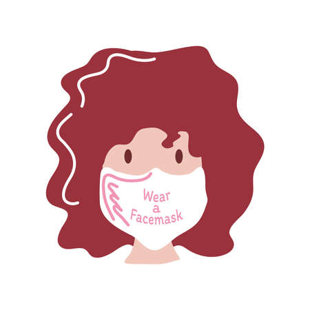 wear a face mask and woman with mask detailed style icon design of Covid 19 virus theme illustration 向量圖像