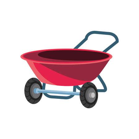 garden wheelbarrow detailed style icon design, Gardening planting and nature theme Vector illustration