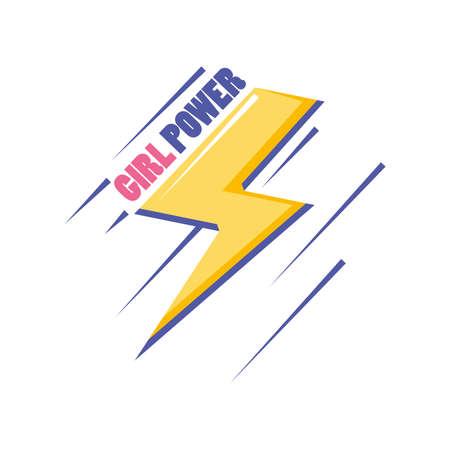 feminism girl power with thunder detailed style icon design international movement theme Vector illustration