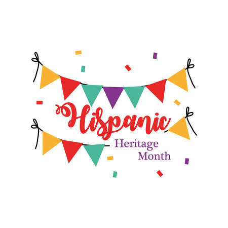 national hispanic heritage month with banner pennant design, culture and latino theme Vector illustration