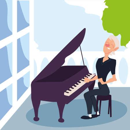 elderly woman playing a piano, active senior vector illustration design