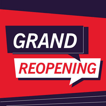 grand reopening, we are working again vector illustration design