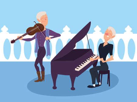 elderly women playing musical instruments, active senior vector illustration design