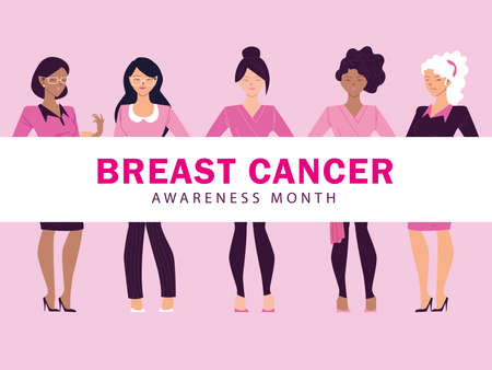 cancer awareness month with women vector illustration design